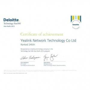 Yealink Deloitte_Certificate Ranked 245th